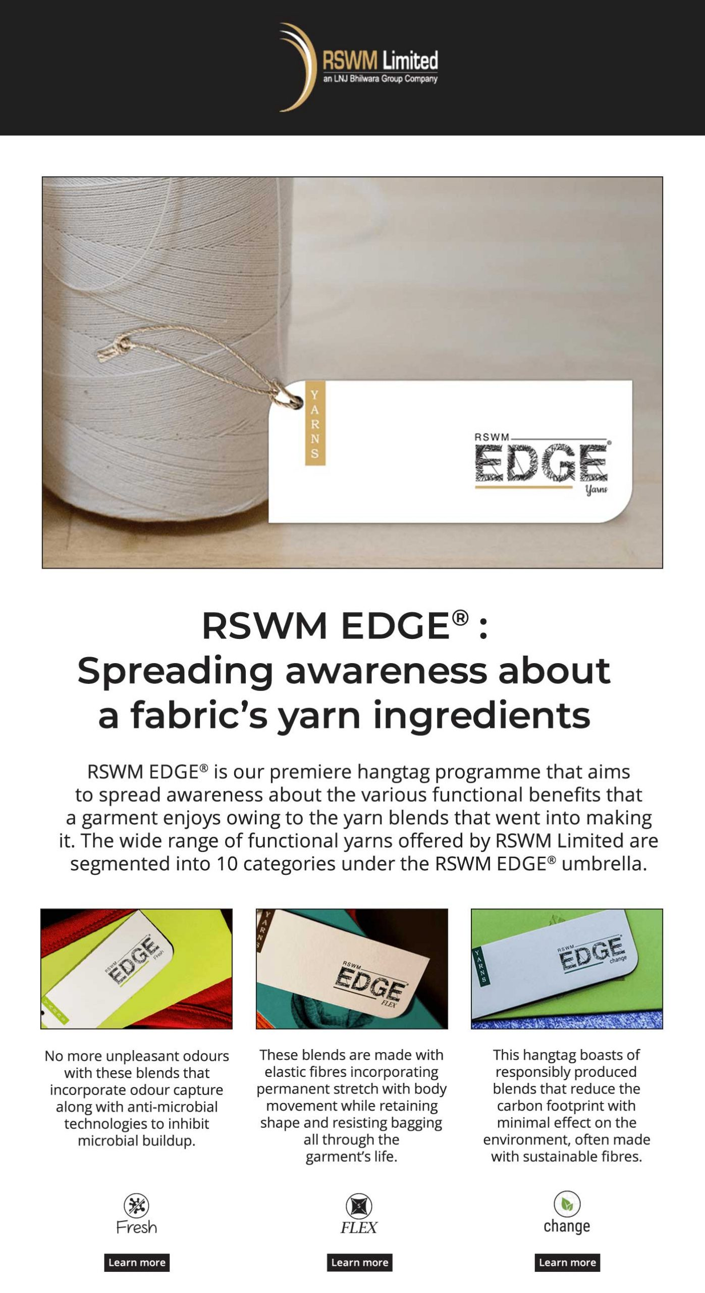RSWM Ltd. is a Premier Yarn Manufacturer in India